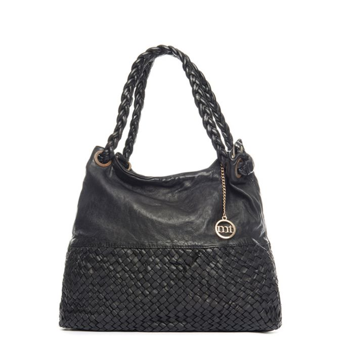 Image for Black leather weave-effect shoulder bag