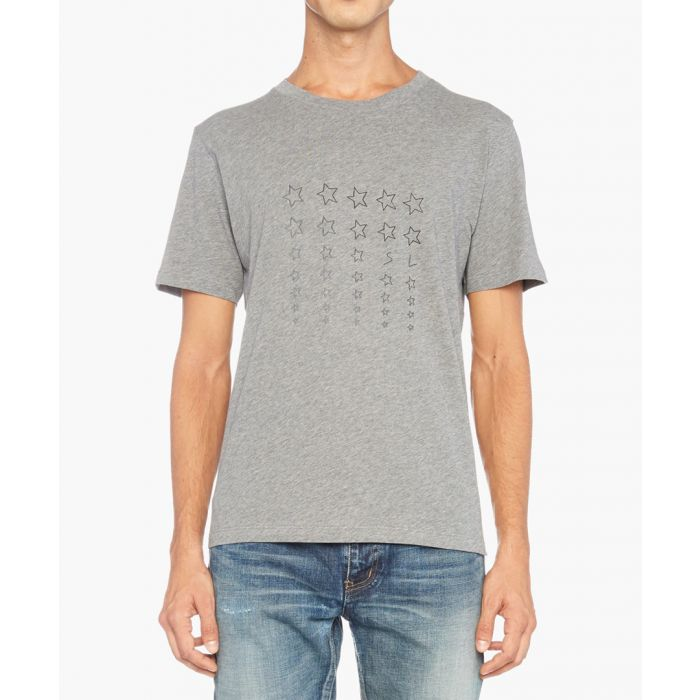 Image for Grey cotton star print T-shirt