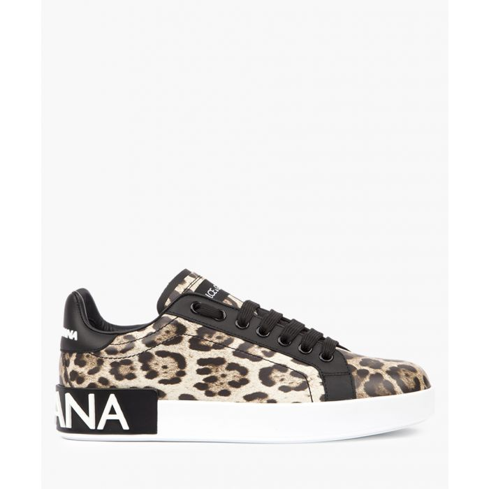 Image for Portofino leopard printed leather logo trainers