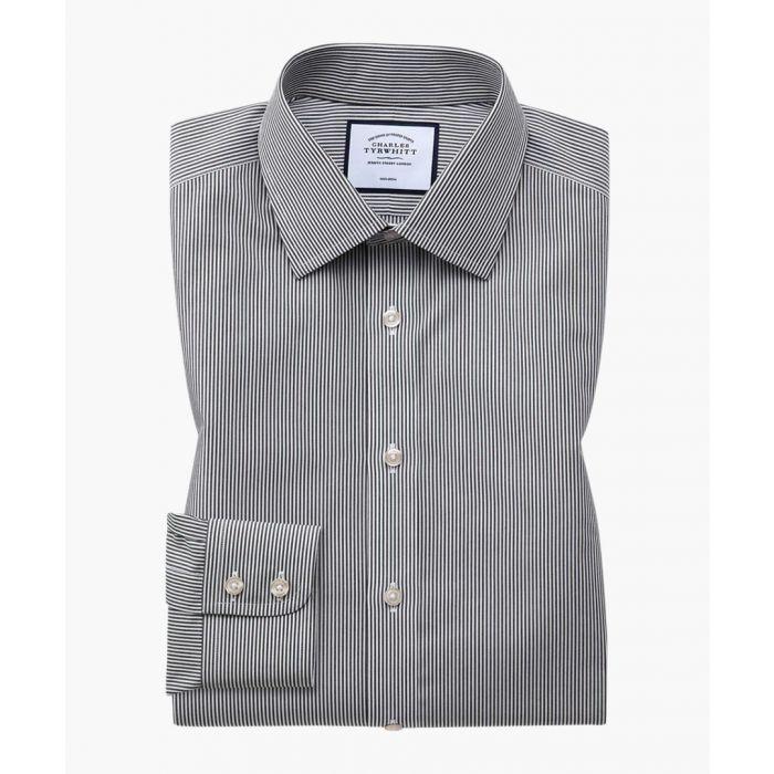 Image for Black pure cotton slim fit shirt