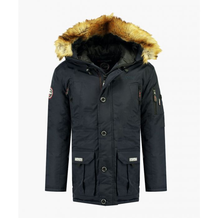 Image for Navy detachable faux fur hooded parka