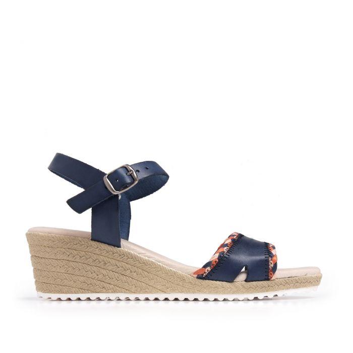 Image for Wedge Leather Sandals Marine Blue Women Summer Castellanisimos