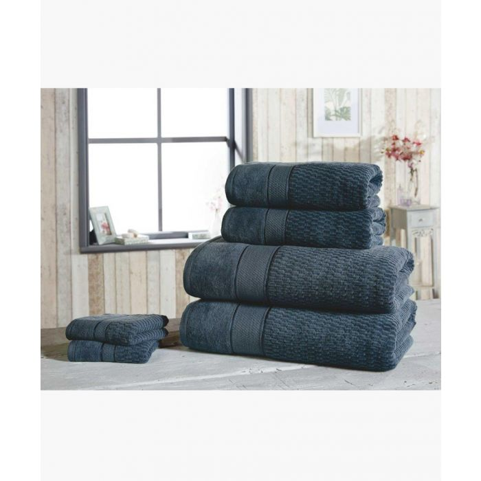 Image for 6pc navy cotton towels