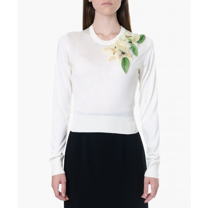 Image for White silk floral appliqué sweater