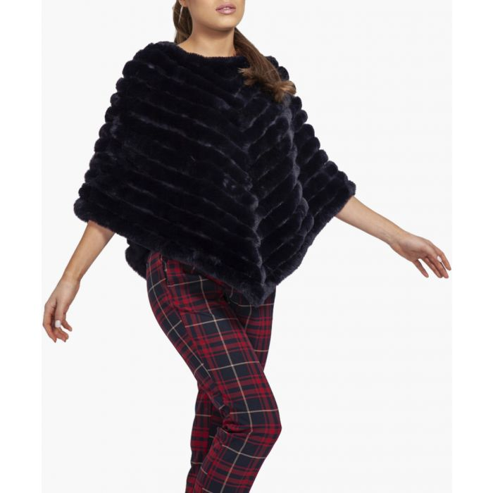 Image for Navy faux fur poncho