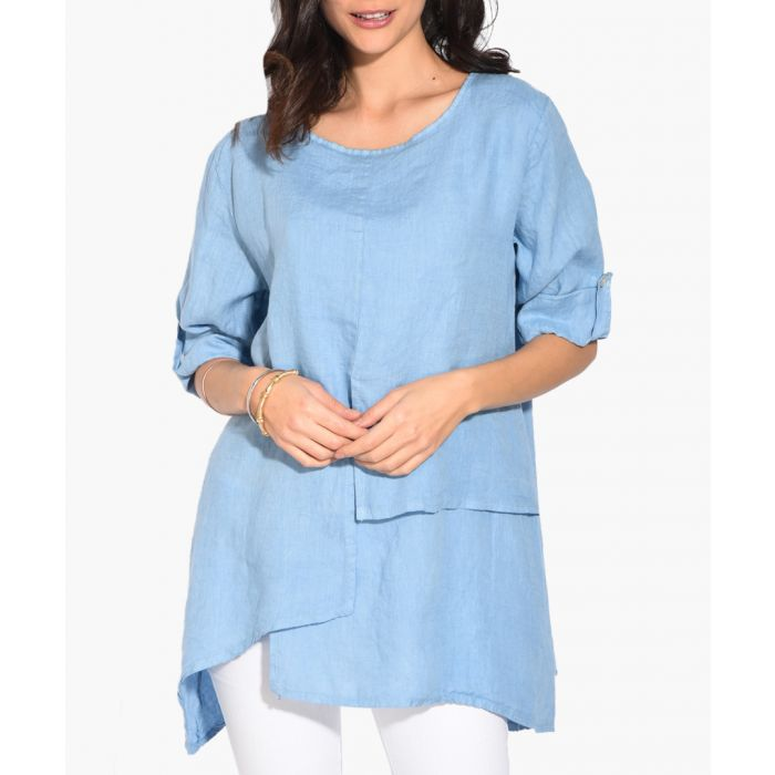 Image for sky pure linen relax blouse