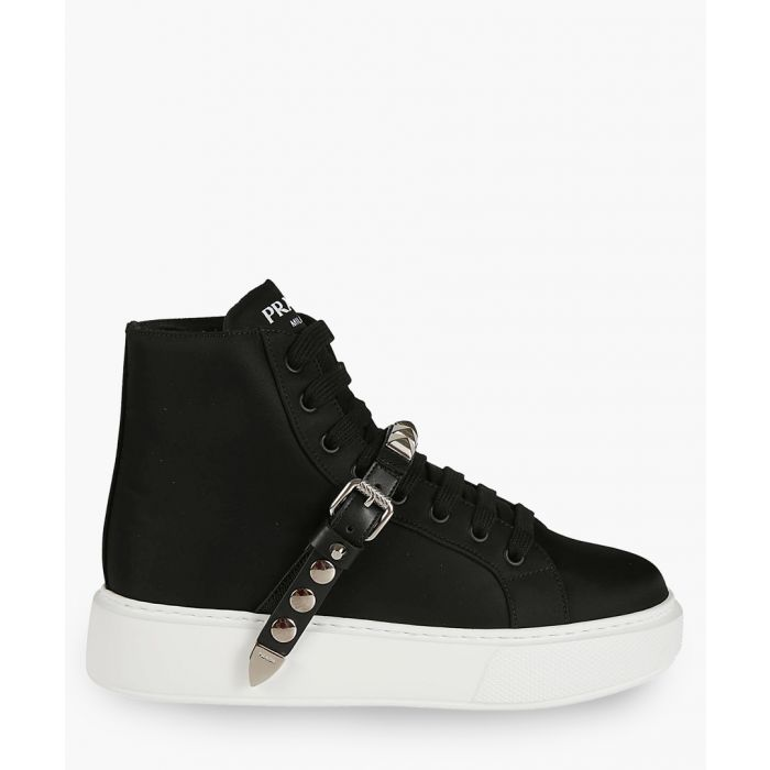 Image for Black leather high-top trainers