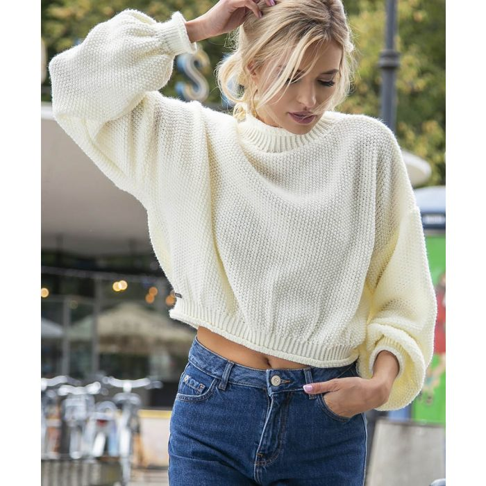 Image for Ecru knitted wool blend sweater