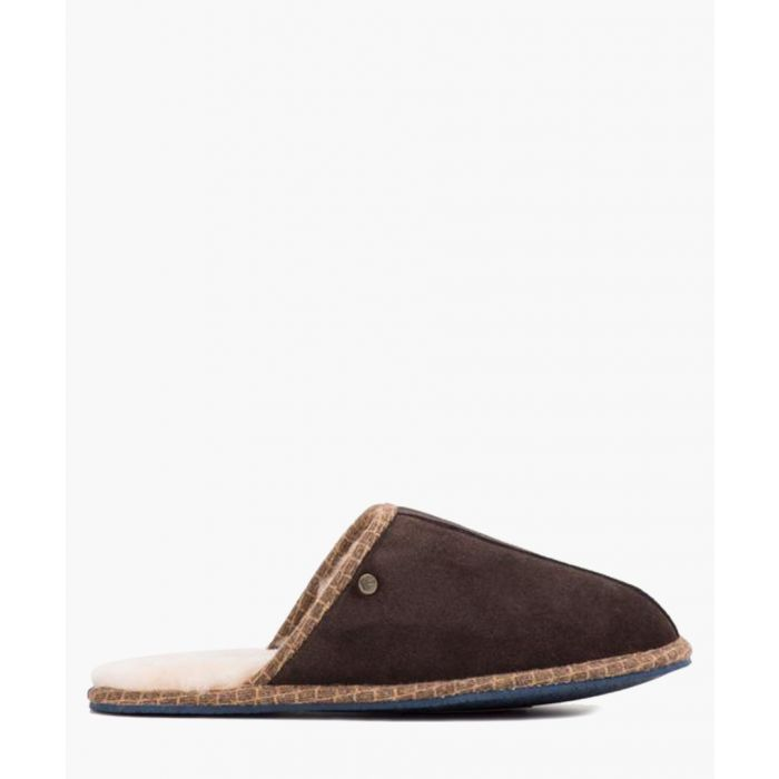 Image for Brown leather slippers