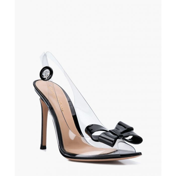 Image for Black leather and pvc slingback heels