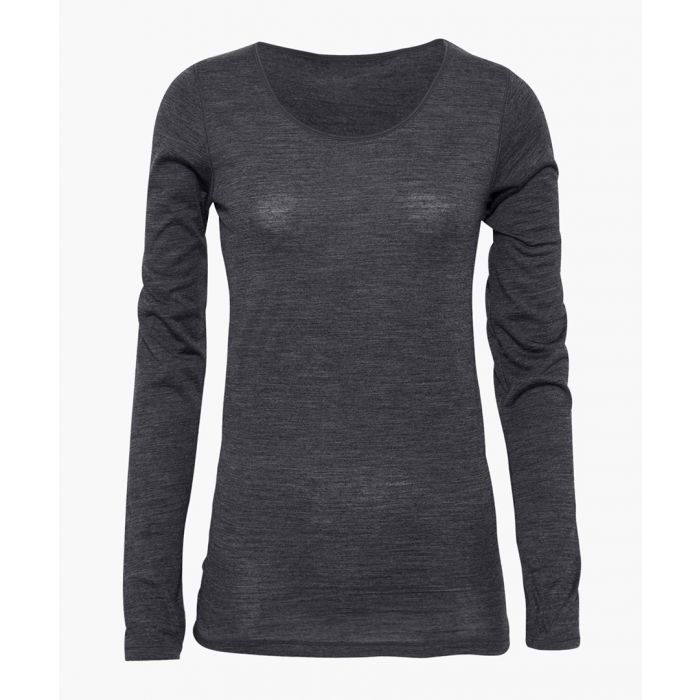 Image for Grey bamboo viscose and organic wool blend long sleeve T-shirt