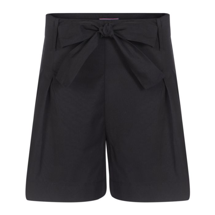 Image for Black pure cotton bow-waist shorts