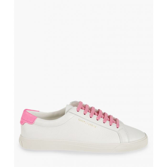 Image for Andy White and pink leather trainers