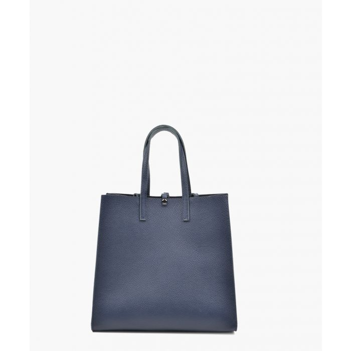 Image for Navy leather shopper