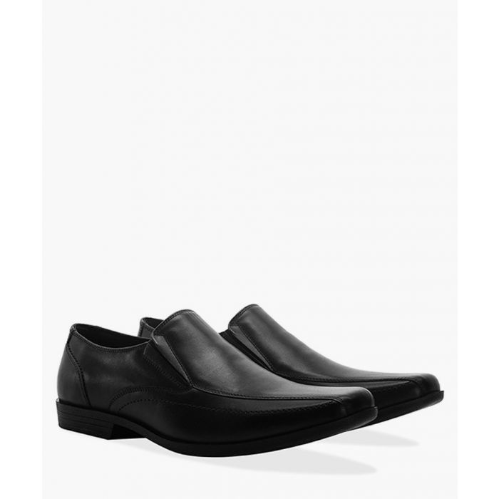 Image for Black faux-leather twin gusset loafers