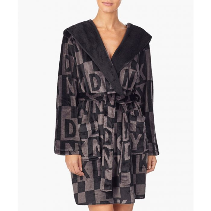 Image for Grey logo-print bath robe