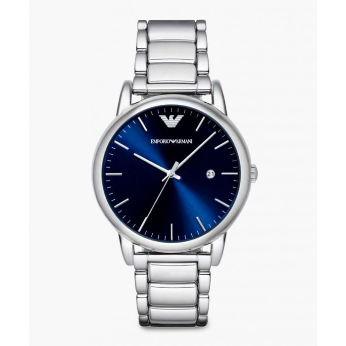 Image for Silver-tone and blue dial chronographic watch