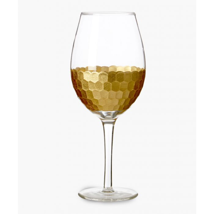 Image for 4pc Astrid gold-tone honeycomb large wine glasses