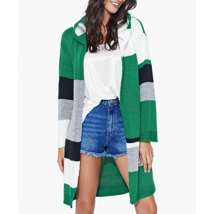 Image for Green and white knitted sweater