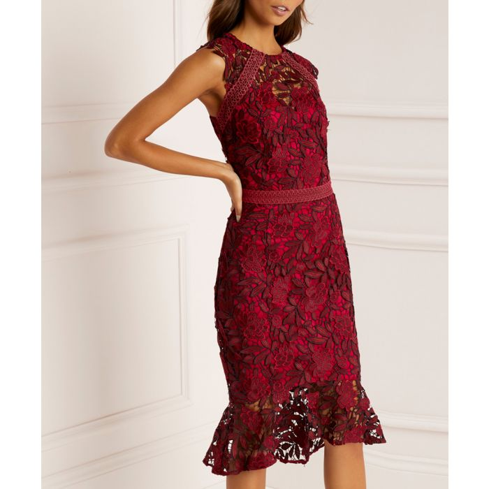 Image for Red lace midi dress