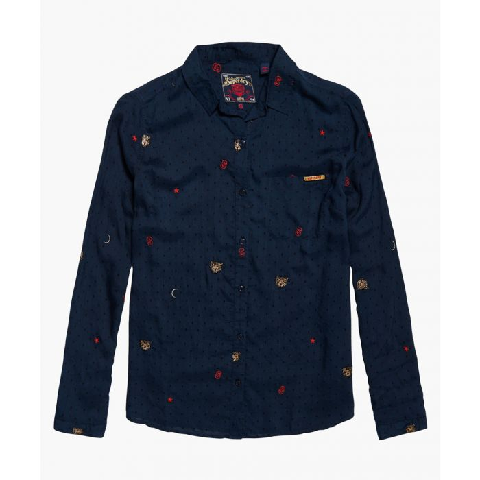 Image for Stevie  Conversational navy blue modal blend shirt