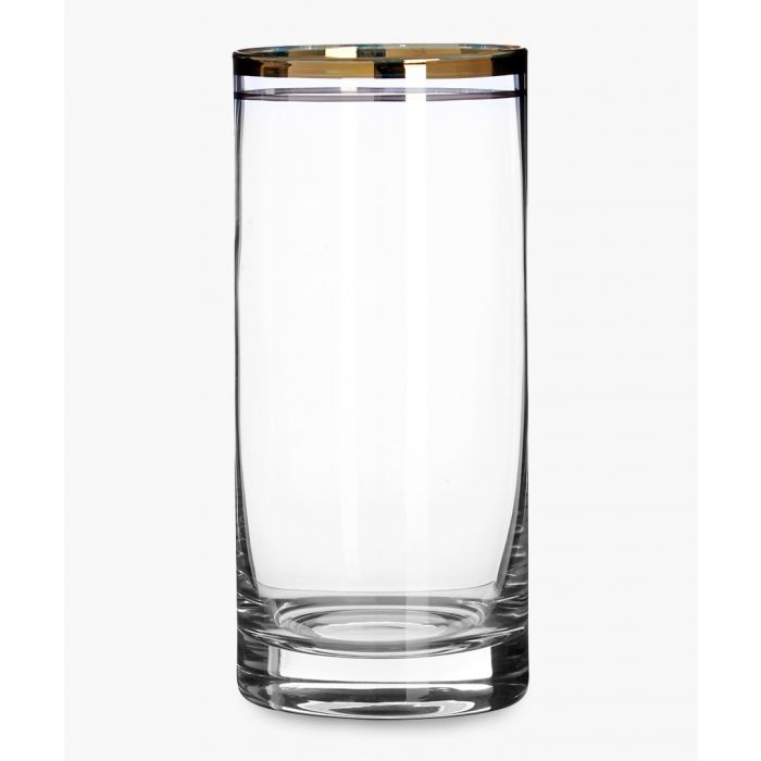 Image for 4pc Charleston gold and silver-tone stripe highball glasses