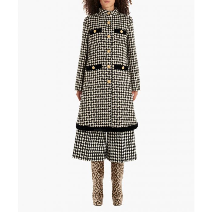 Image for Houndstooth wool-cotton coat