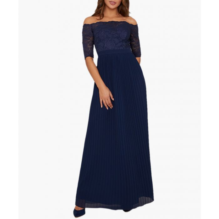 Image for Ellery navy pleated maxi dress