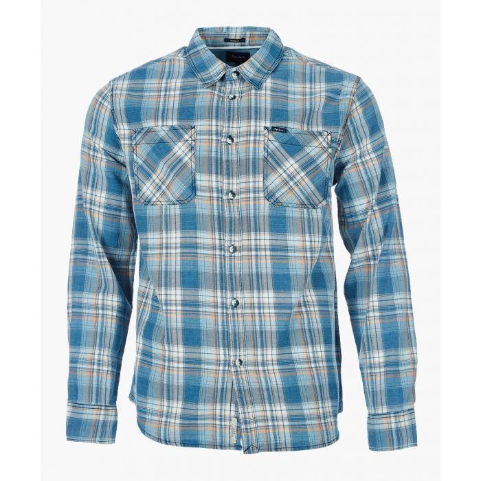 Image for Rix indigo pure cotton tartan shirt