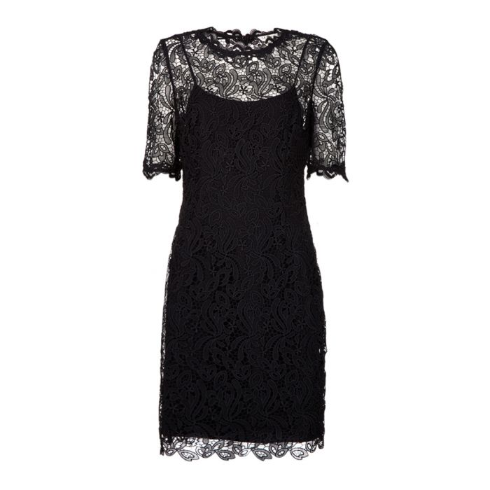 Image for Sasha black and silver-tone lace dress