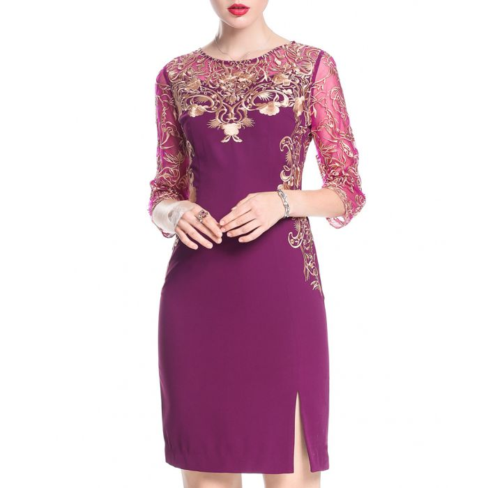 Image for Purple embroidered slit mini dress