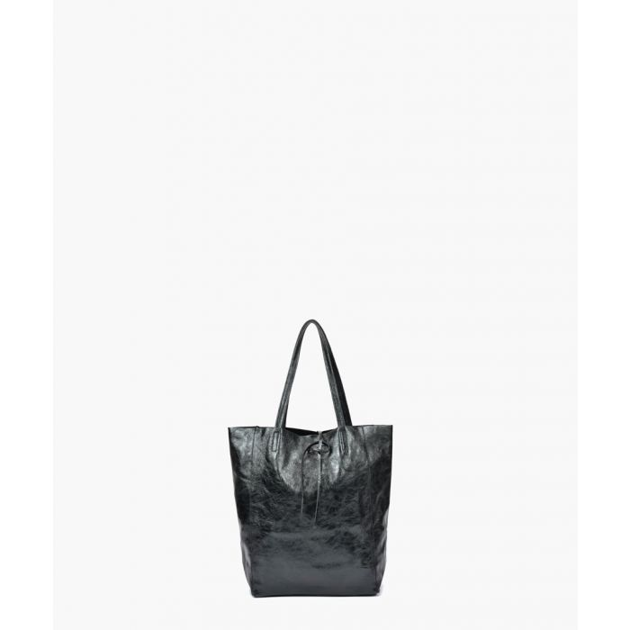 Image for Black leather shopper