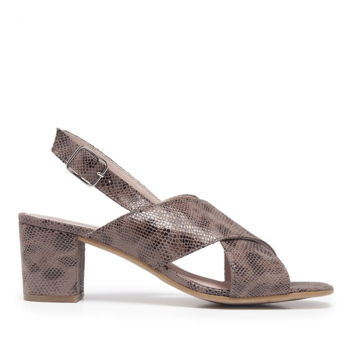 Image for Womens Heeled Sandal Taupe Snake Print