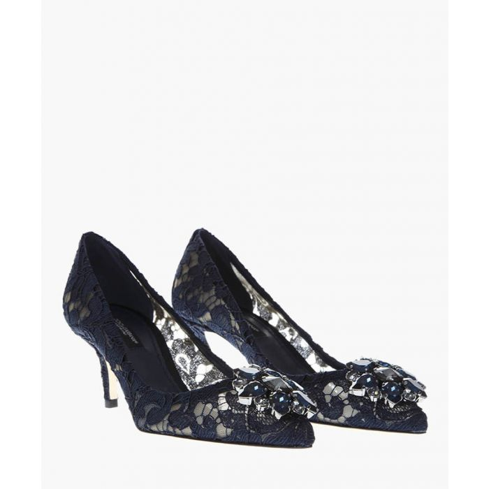 Image for Taormina lace crystal pumps