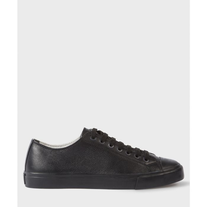 Image for Black leather low-top sneakers