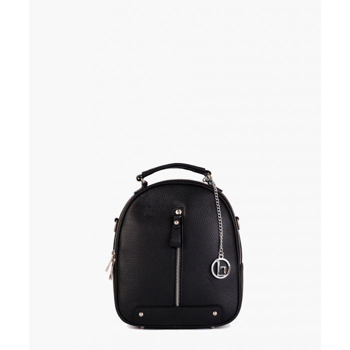 Image for Giannutri black leather backpack