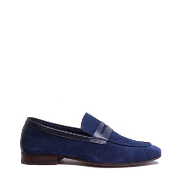 Image for Navy suede soft bar loafers