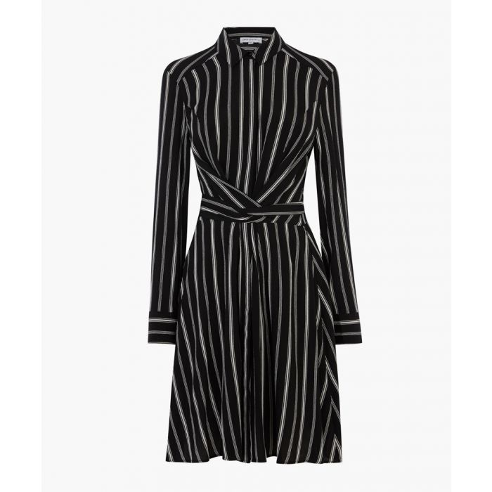 Image for Black stripe tie wrap dress