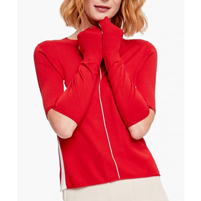 Image for Red and white pure wool jumper