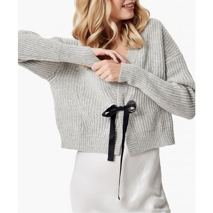 Image for Grey melange pure cashmere knitted cardigan