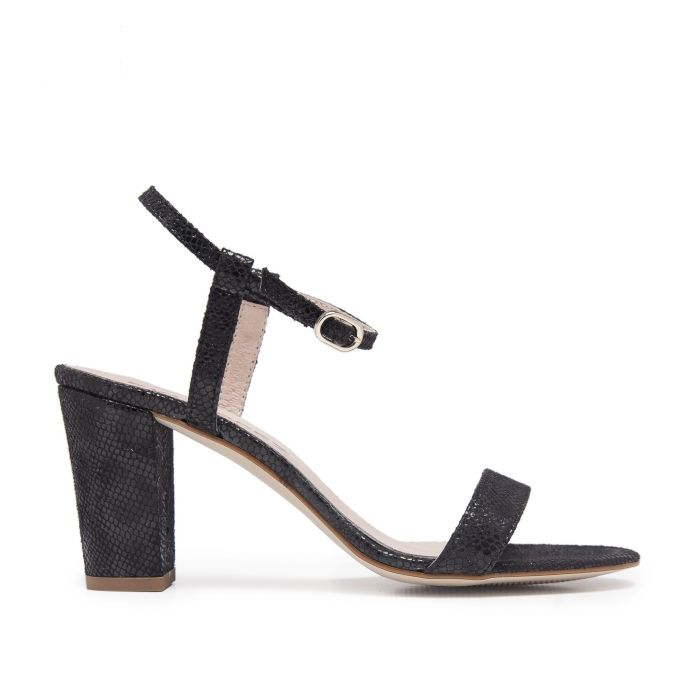 Image for Leather Sandals Heel for Women Heeled Black Shoes Eva Lopez