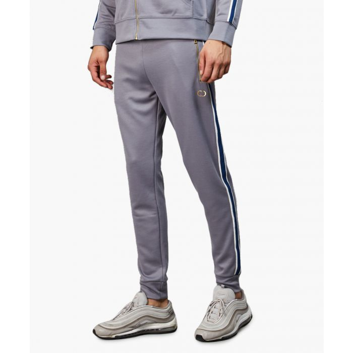 Image for Grey pure cotton side tape joggers