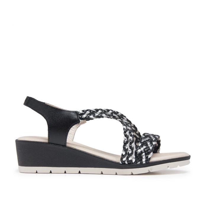 Image for Wedge Leather Sandals Black Women Summer Castellanisimos