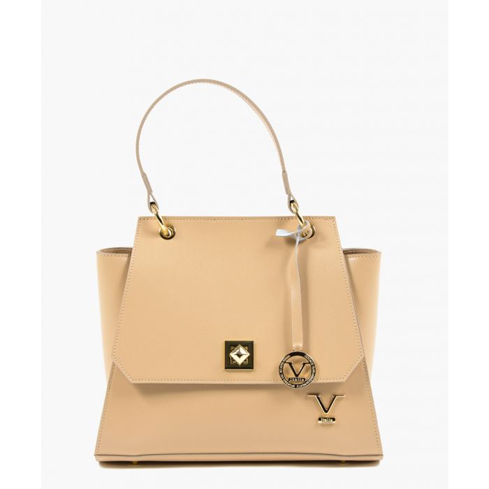 Image for Beige leather trapeze tote