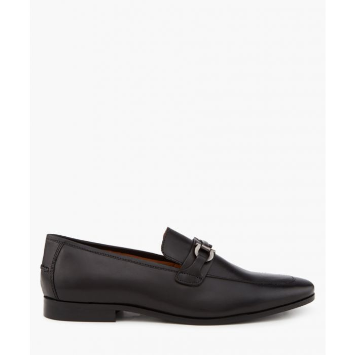 Image for Black leather buckle loafers