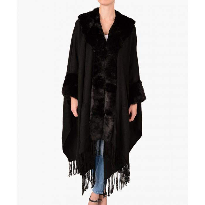 Image for Black cashmere blend fringed cape