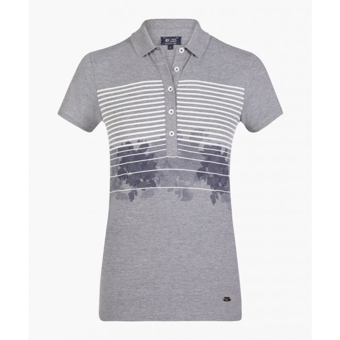 Image for Grey melange stretch cotton polo shirt
