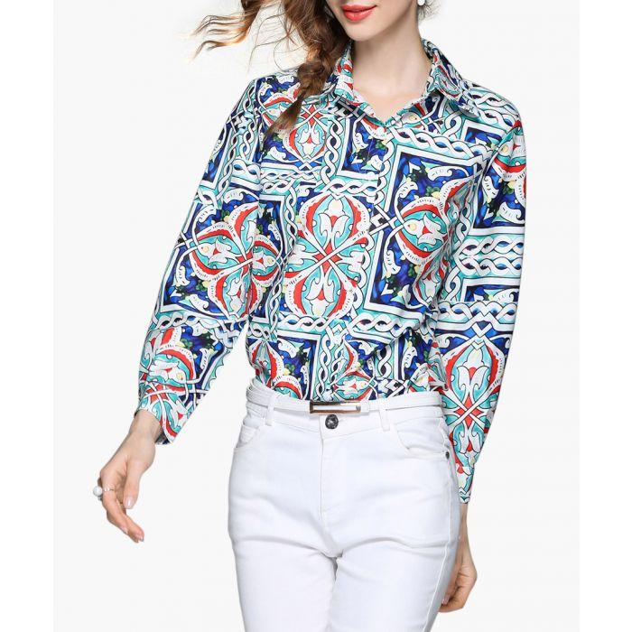 Image for Blue tile print button-up shirt