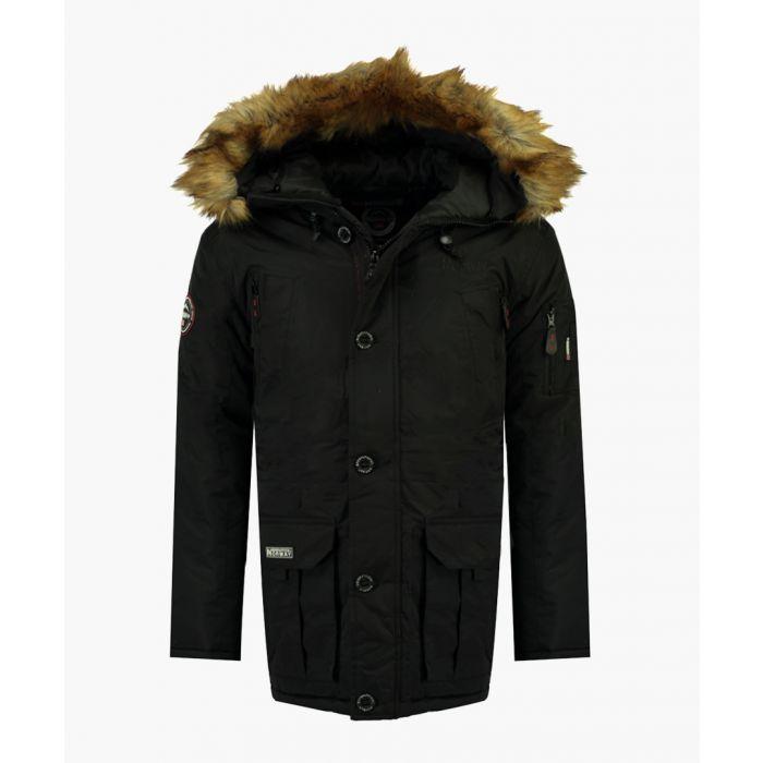 Image for Black detachable faux fur hooded parka