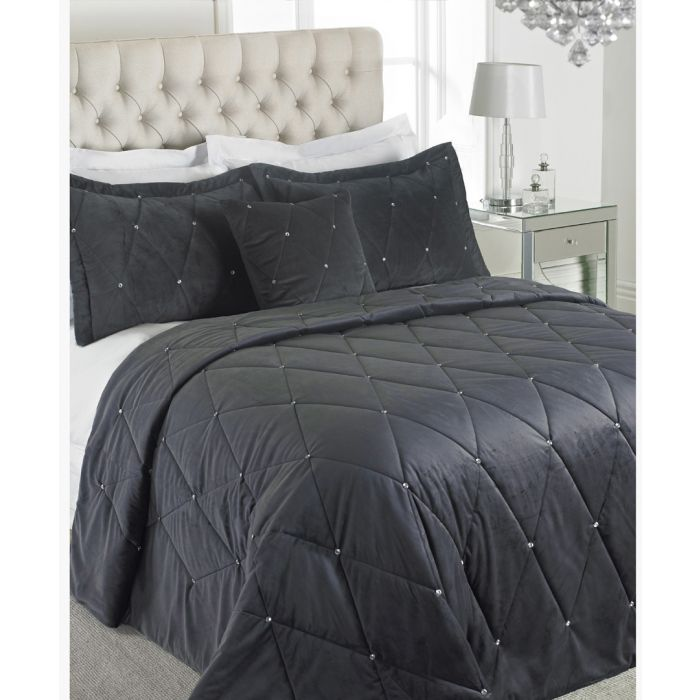 Image for New Diamante pewter bedspread